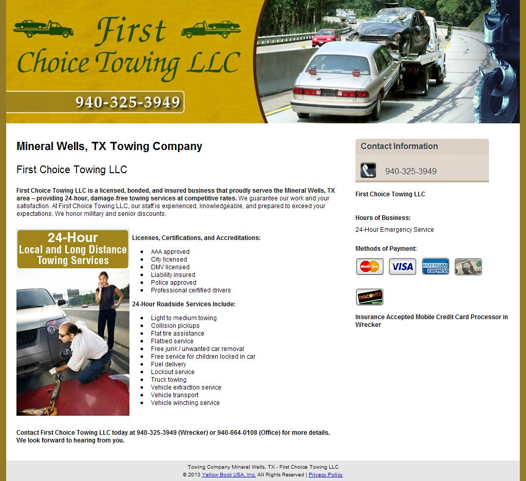 Towing Company Mineral Wells, TX - First Choice Towing LLC