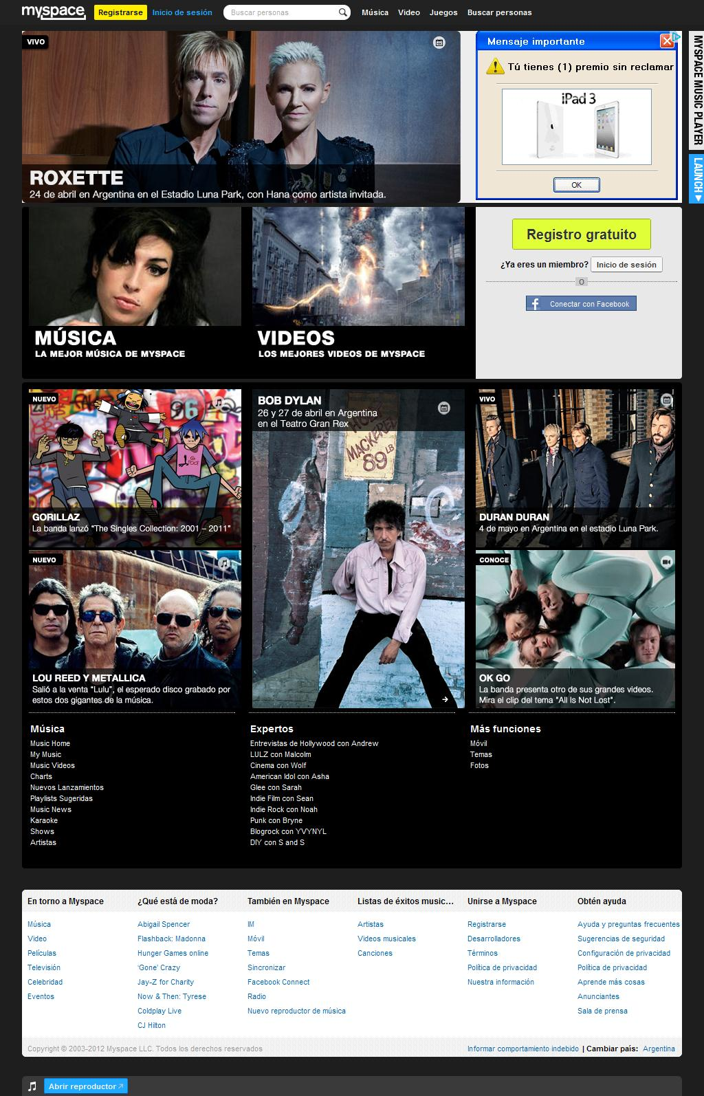 Featured Content on Myspace