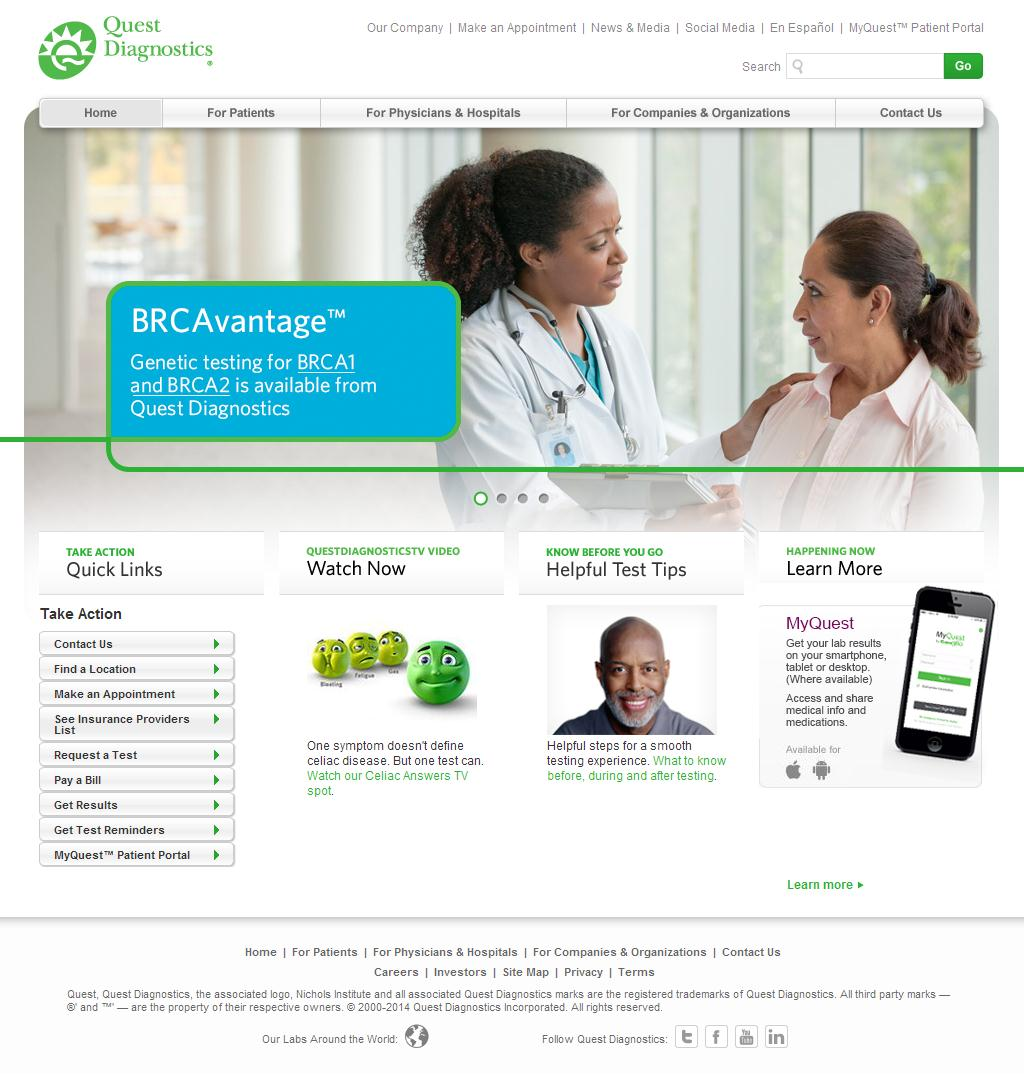 quest diagnostics Quest diagnostics incorporated (nyse:dgx) is an american clinical laboratory with headquarters in secaucus, new jerseyfounded in 1967 as metropolitan pathology laboratory, inc, it became an independent corporation with the quest name on december 31, 1996.