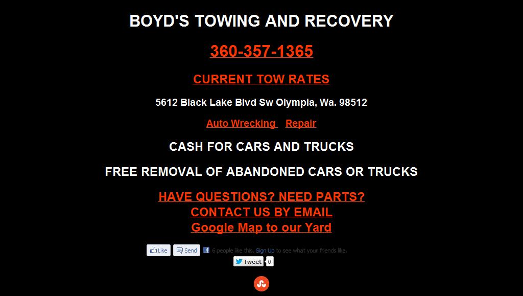BOYD'S TOWING*BLACK LAKE AUTO REPAIR & WRECKING*AUTO PARTS RECYCLER