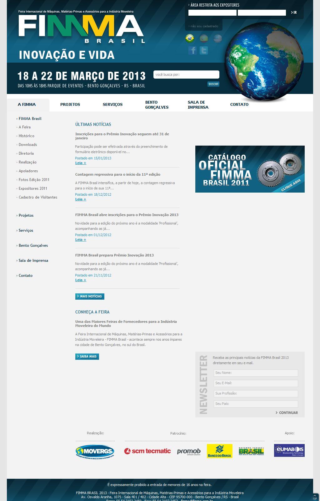 Fimma Brasil 2013 / Página Inicial