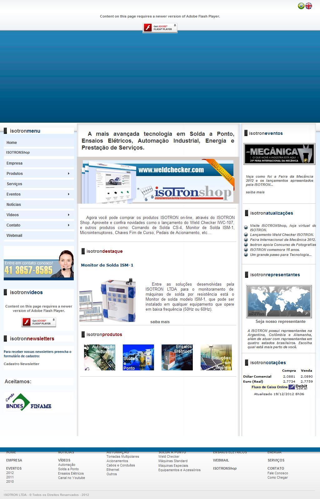 ::: ISOTRON - Automação - Solda a Ponto - Ensaios Elétricos - Energia - Serviços :::