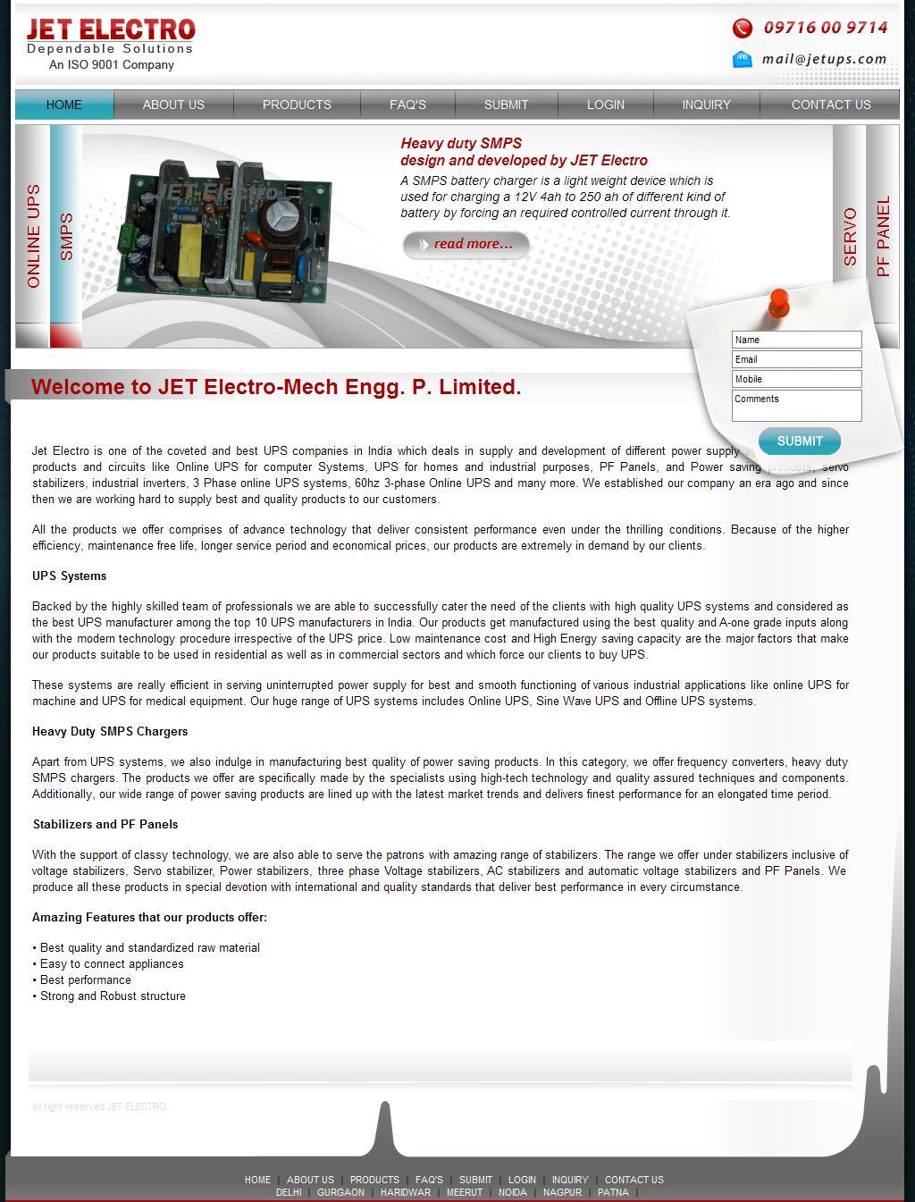 JET-Electro : UPS Delhi, UPS & SMPS Manufacturer, Online UPS Distributor Company   Noida, Gurgaon, Ghaziabad, Sahibabad, Faridabad, Meerut, Patna & Nagpur