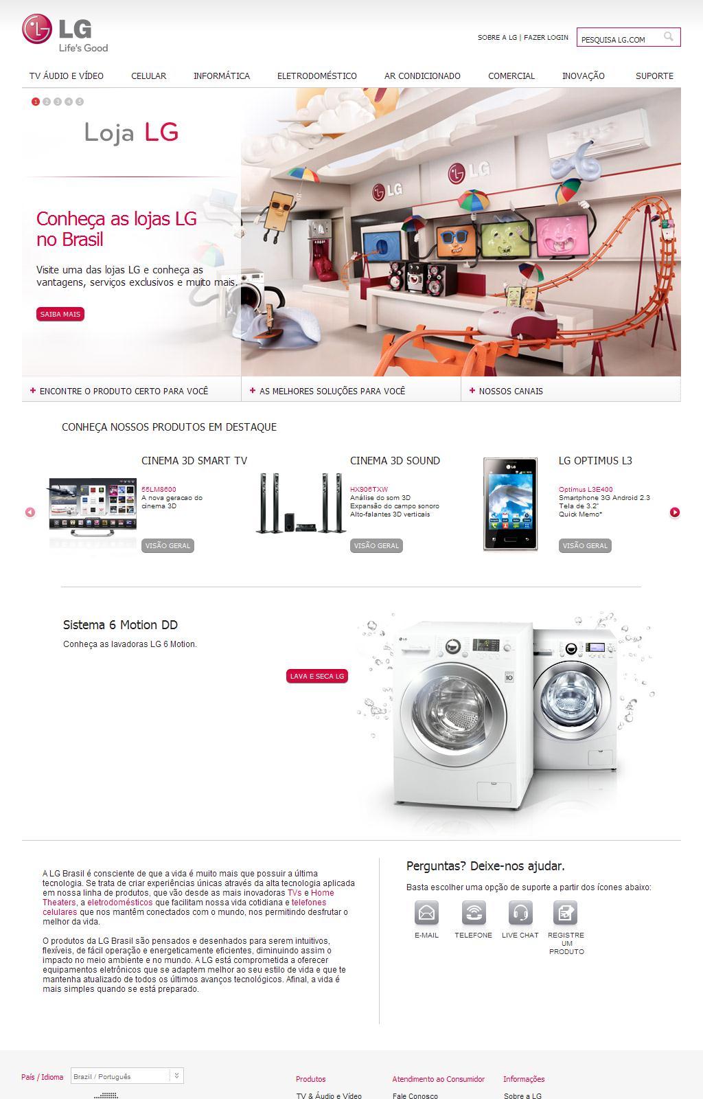 Conheça toda a linha de Áudio, Vídeo, Informática e Eletrodomésticos - LG Brasil