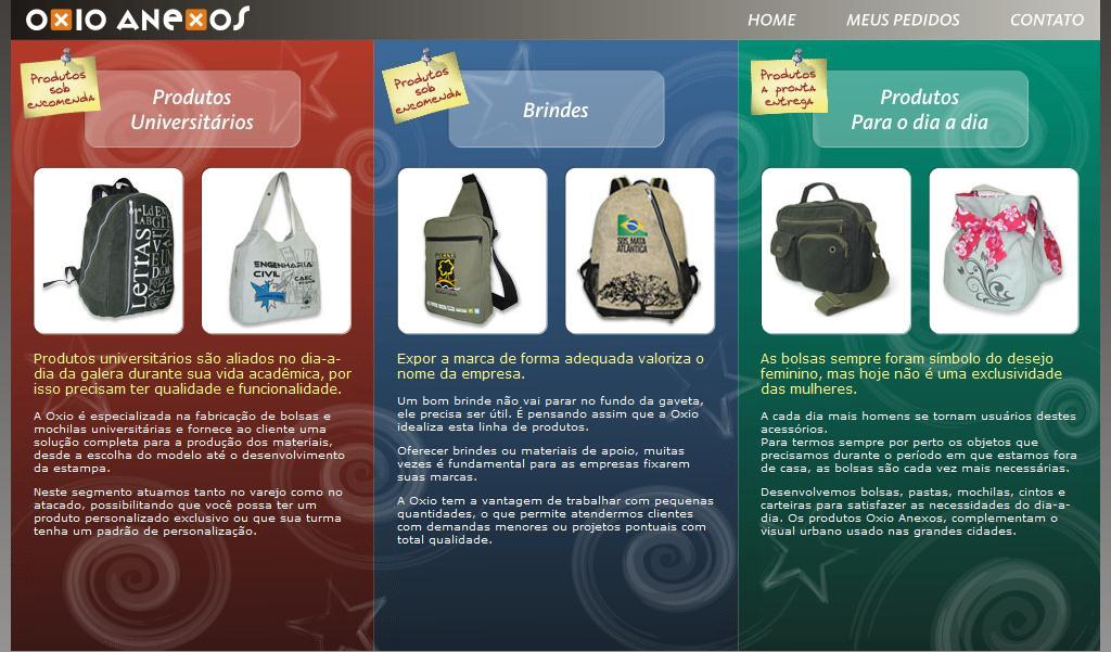 Oxio Anexos - bolsas universitárias - mochilas universitárias - bolsas, mochilas, pastas, carteiras, estojos, cintos - brindes e produtos promocionais
