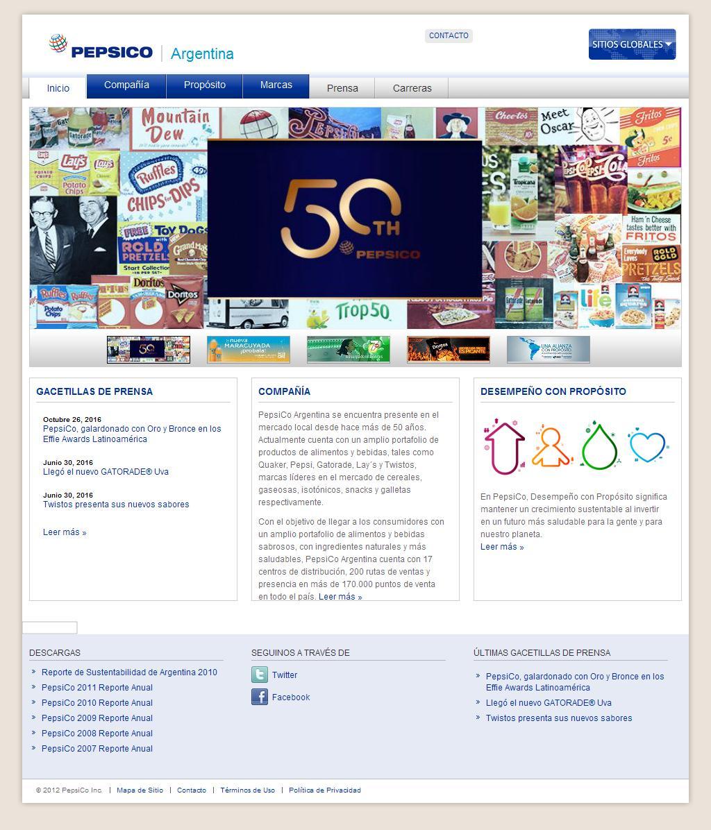 Sitios web de pepsico de argentina srl trade nosis for Paginas de chimentos de argentina