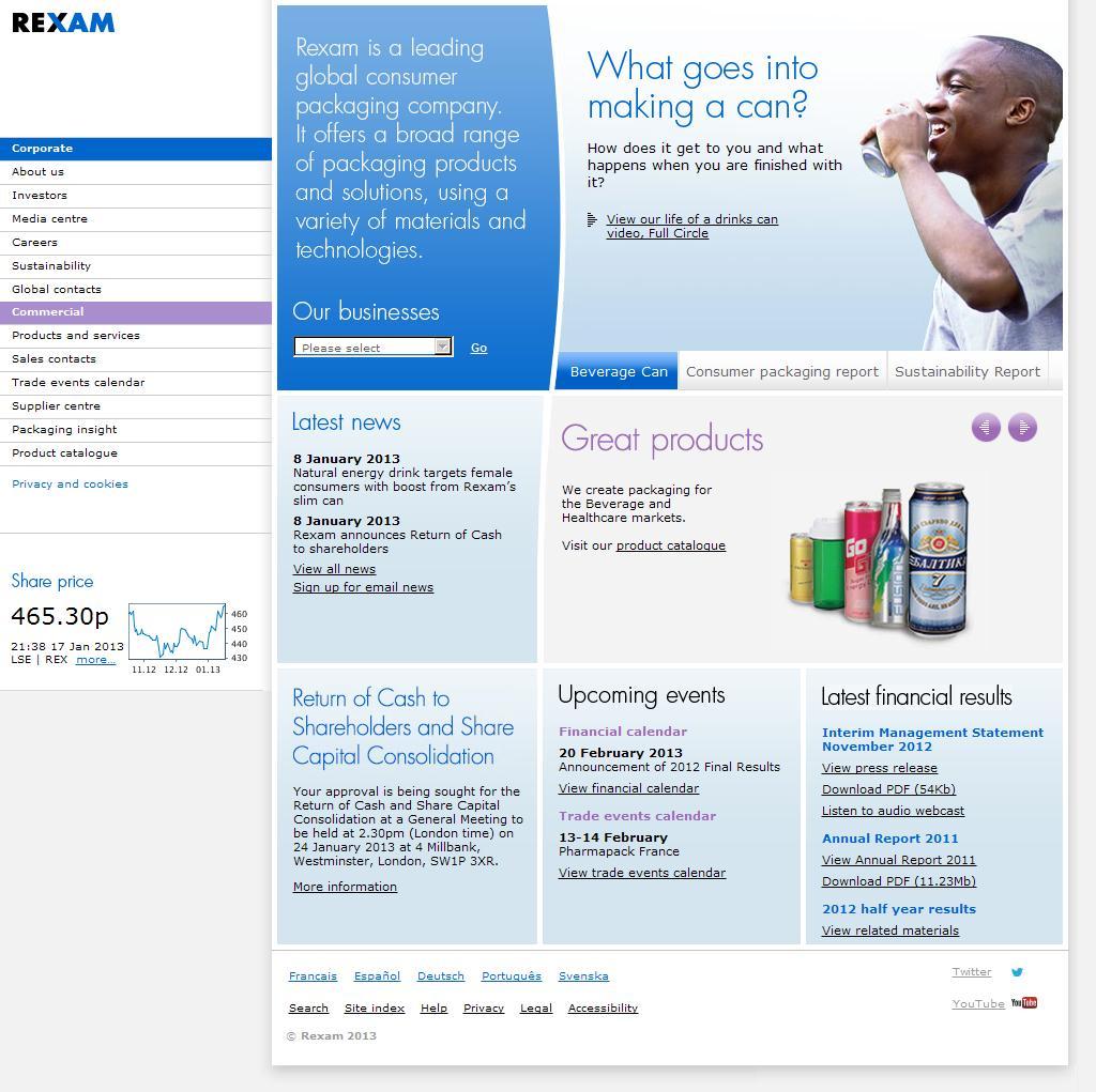 Rexam PLC : Homepage