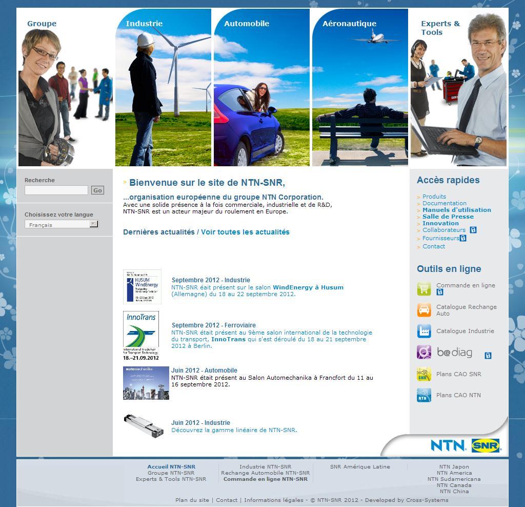 Portail NTN-SNR - Bienvenue sur le site de NTN-SNR, acteur majeur du roulement en Europe