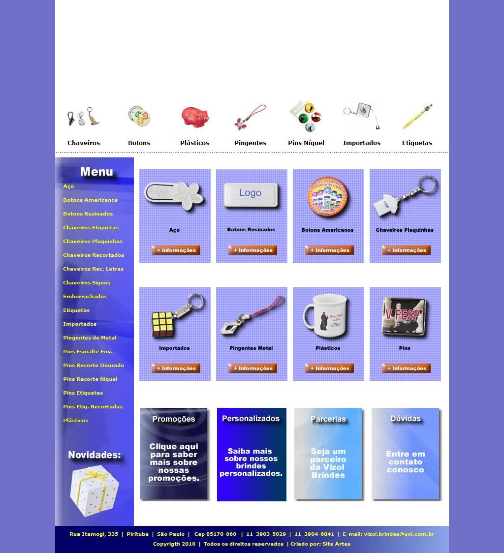 Vizol Brindes - Chaveiros | Botons | Pingentes | Pins | Plásticos | Etiquetas