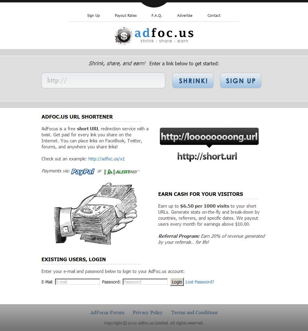 AdFoc.us | Shrink, Share, and Earn!