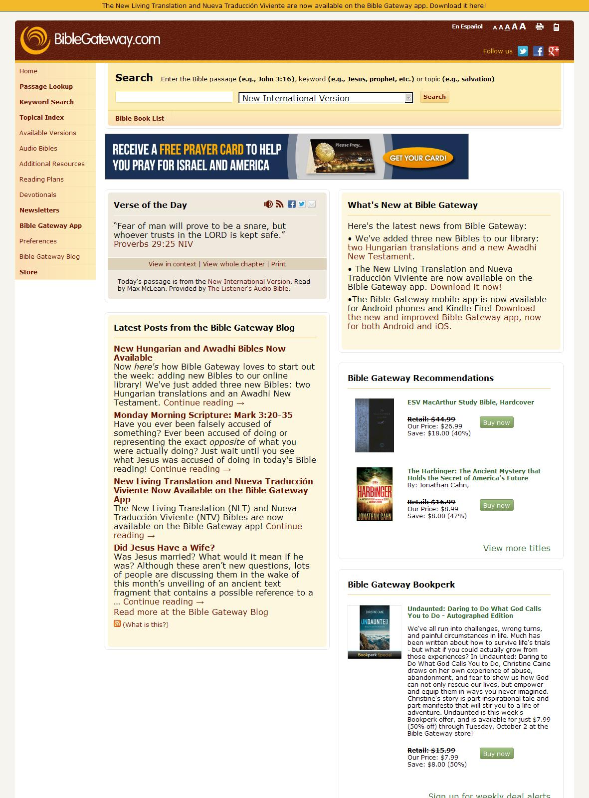 BibleGateway.com: A searchable online Bible in over 100 versions and 50 languages.