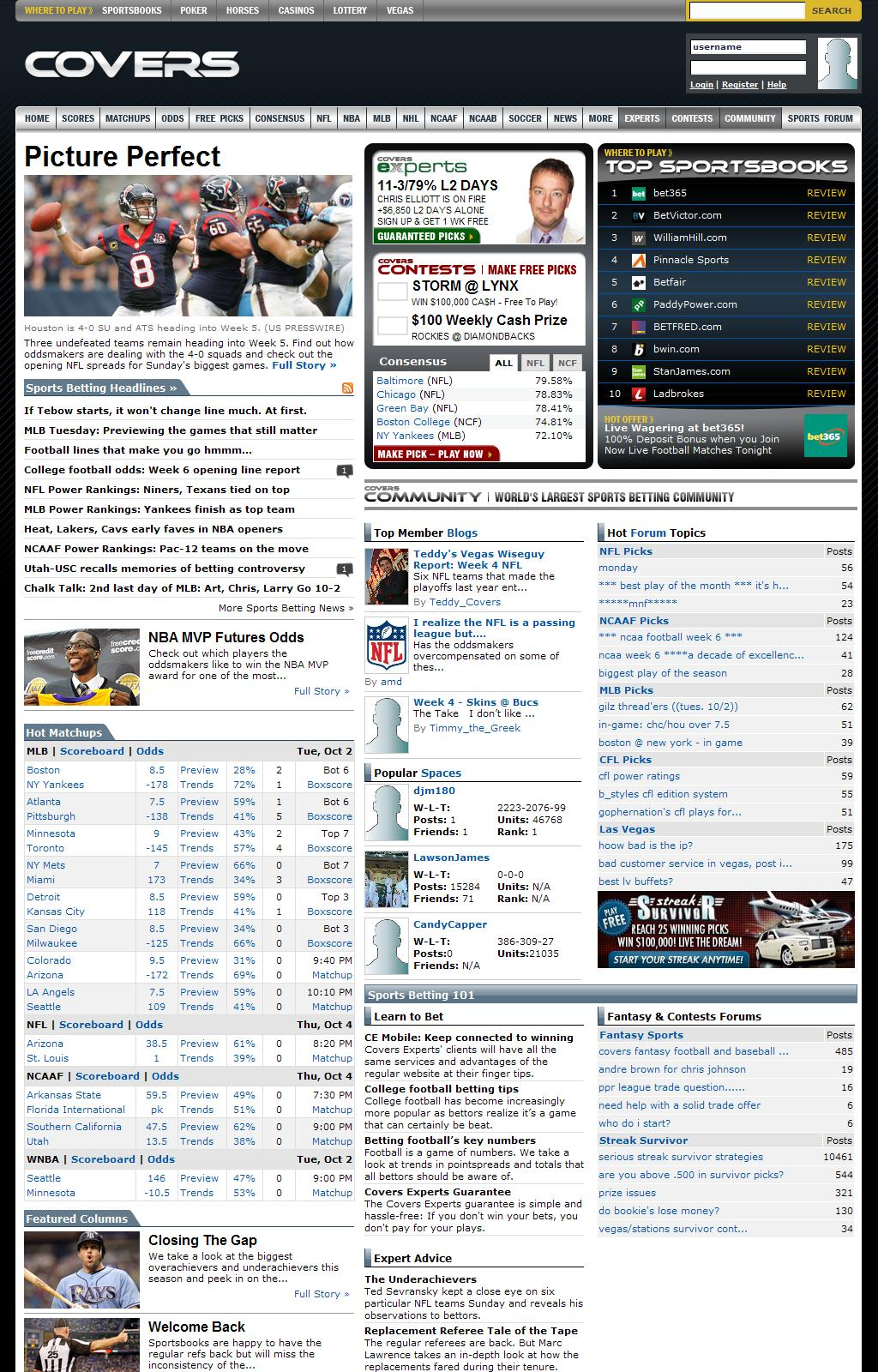 "Sports Betting Odds, Picks and Statistics â€"" Covers.com"