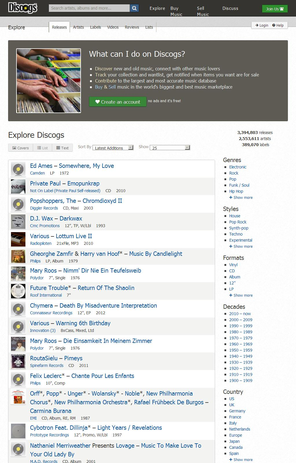 Explore  Releases on Discogs