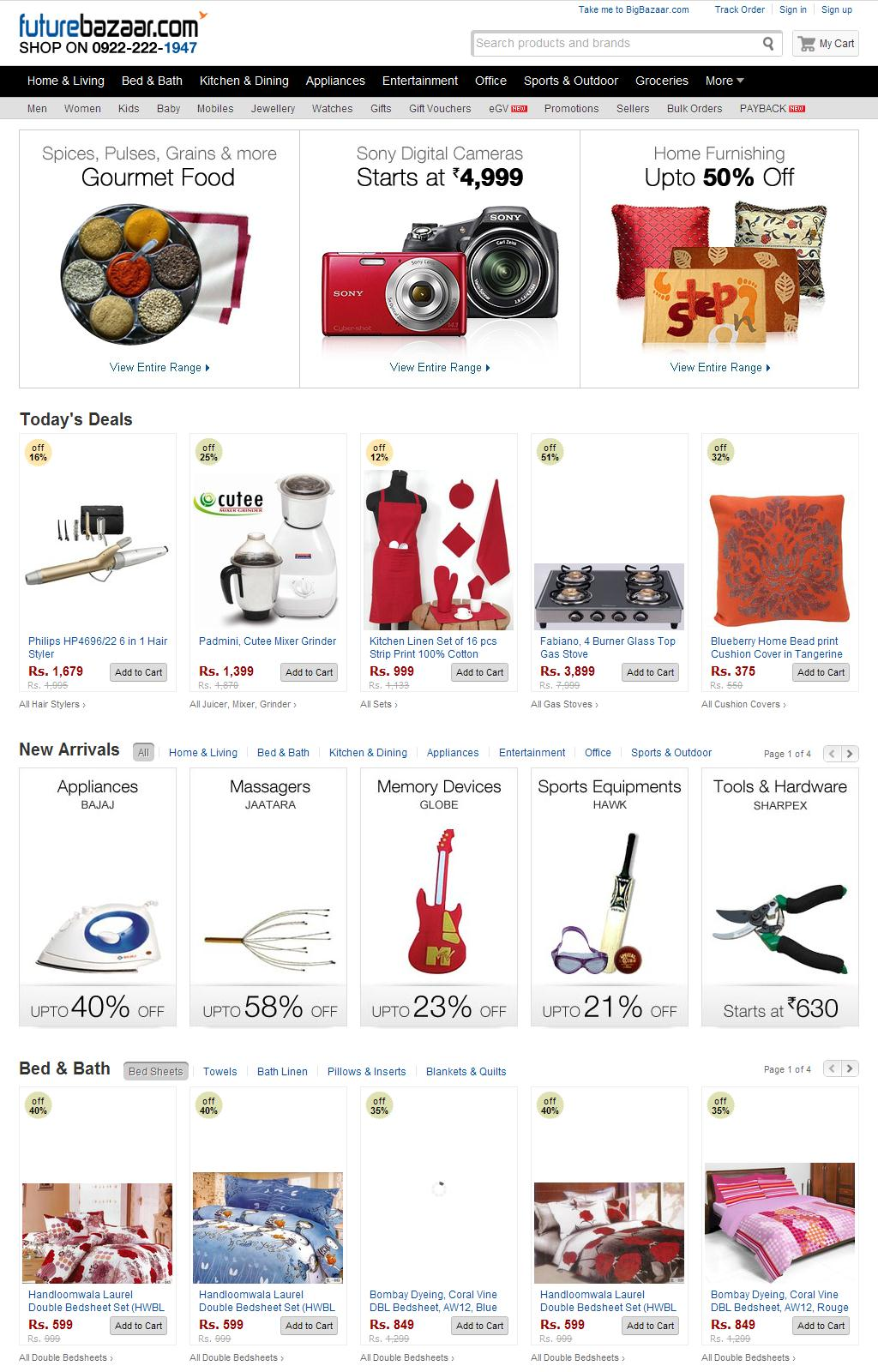 FutureBazaar.com - Online Shopping India   Buy from Home & Living, Electronics, Kitchen Items, Kitchen and Home Appliances, Gift Vouchers