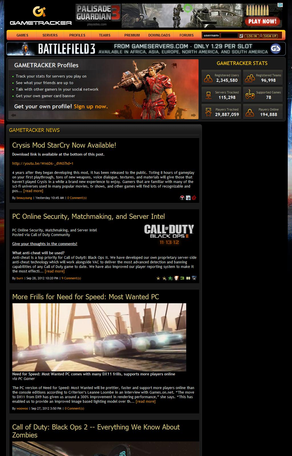 Game Tracker - Server Stats, List Search, Ranking, Banners, & Social Network for Gamers