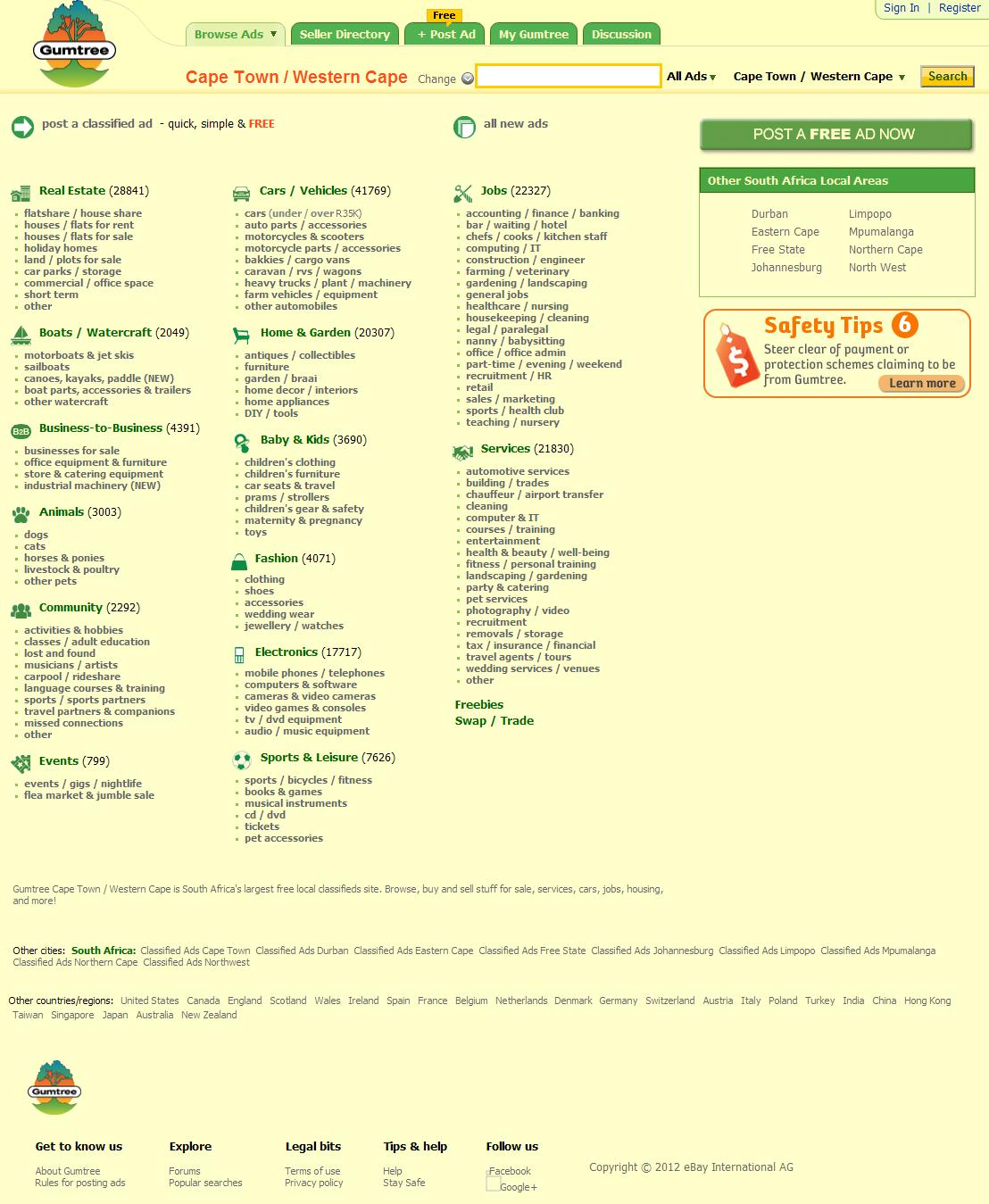 Gumtree Cape Town / Western Cape - South Africa's Largest Free Local Classified Ads Marketplace