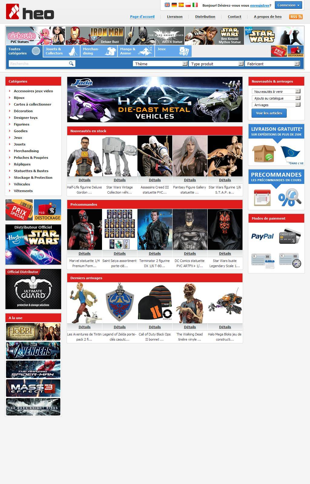 heo - distributeur & grossiste en merchandising, figurines, statues, jouets, jeux, peluches, répliques et bijoux tirés des univers Cinema, TV, Comics, anime, musique et jeux vidéo
