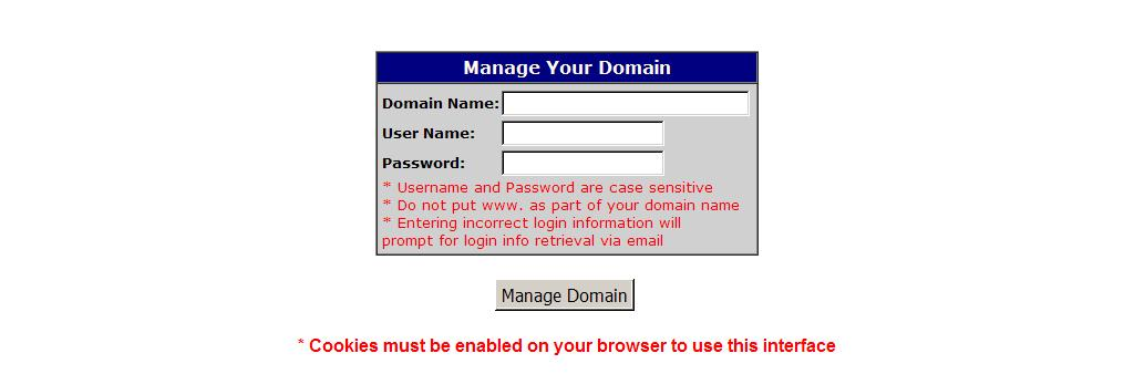 Manage Your Domain - Login