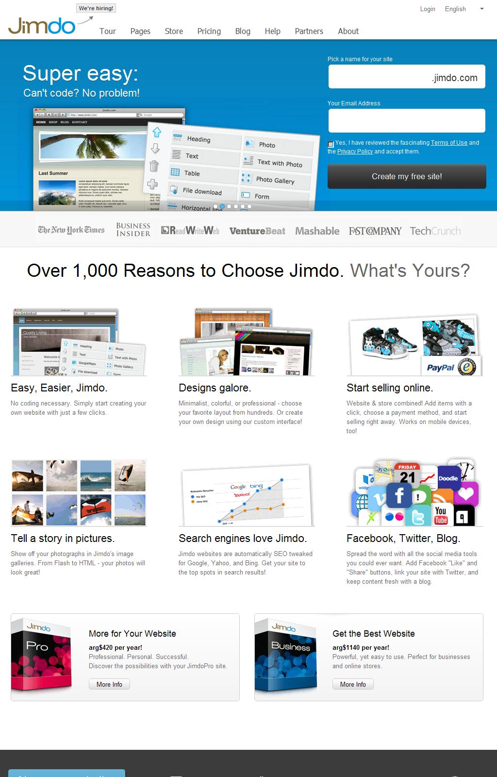 • Create a Free Website with our Website Builder - Jimdo