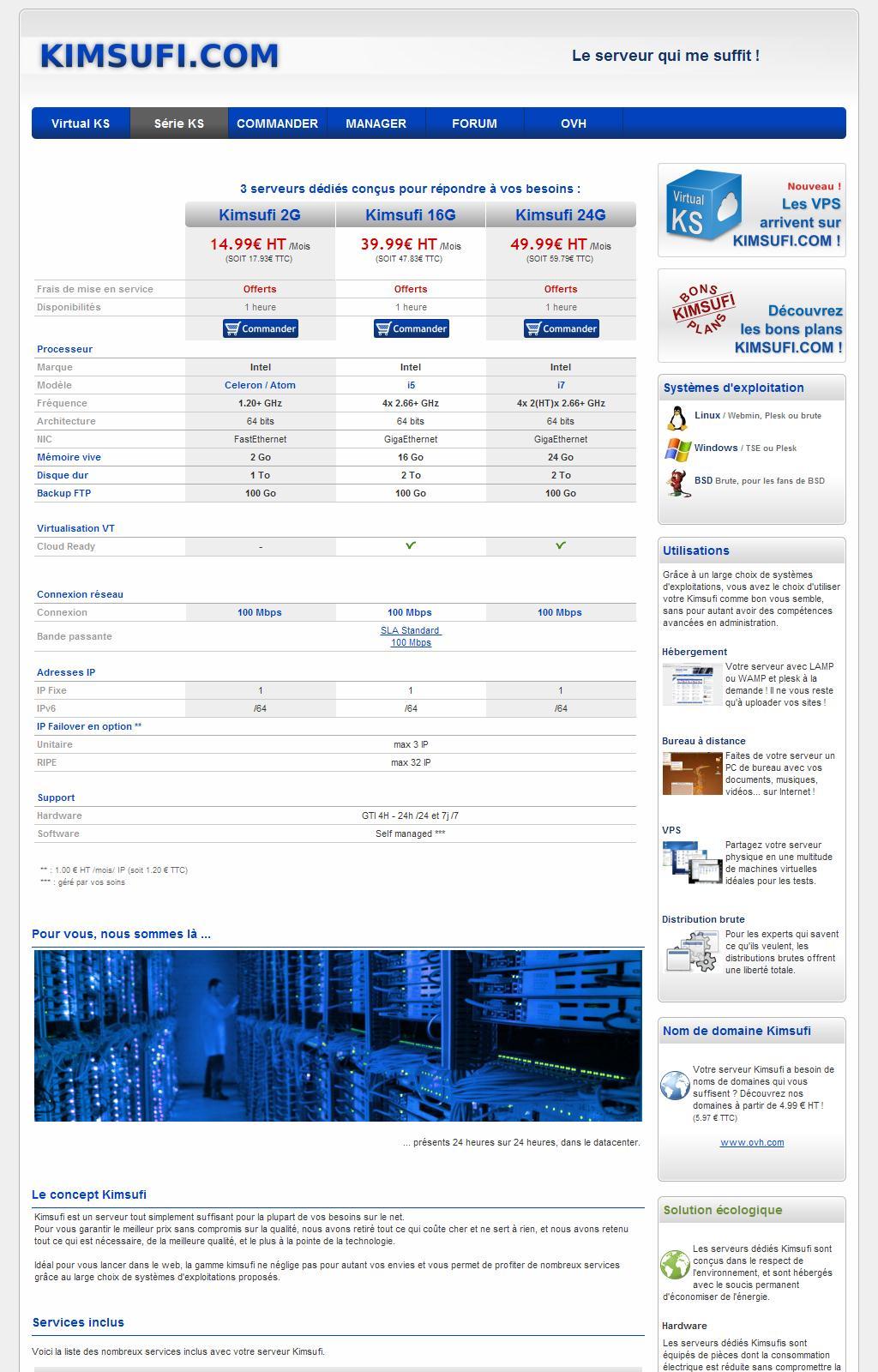 Kimsufi - votre gamme de serveurs dédiés à partir de 14.99 Euros/mois !