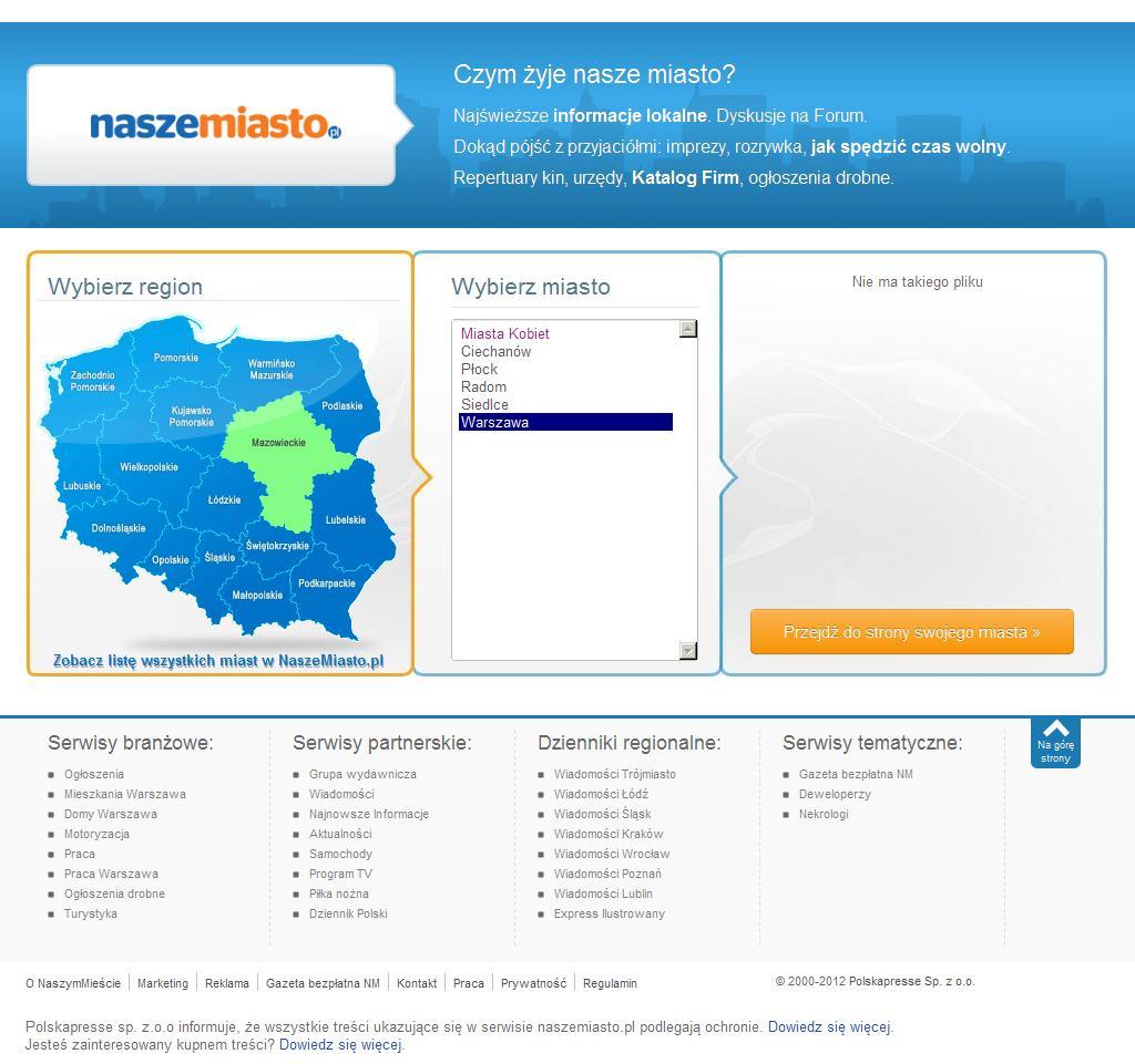 NaszeMiasto.pl - sieć miejskich serwisów informacyjnych.