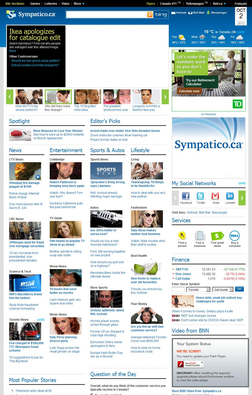 Sympatico – News | Weather & Sports | Fashion | Autos | Entertainment