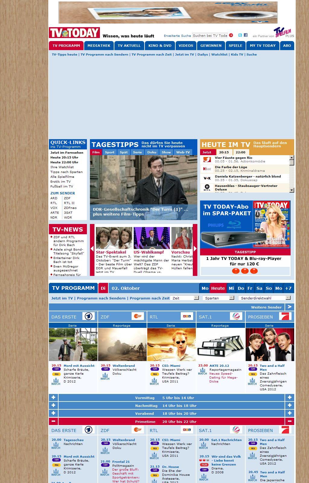 Fernsehprogramm von TV Today, Wissen was heute im TV Programm läuft - TV Today
