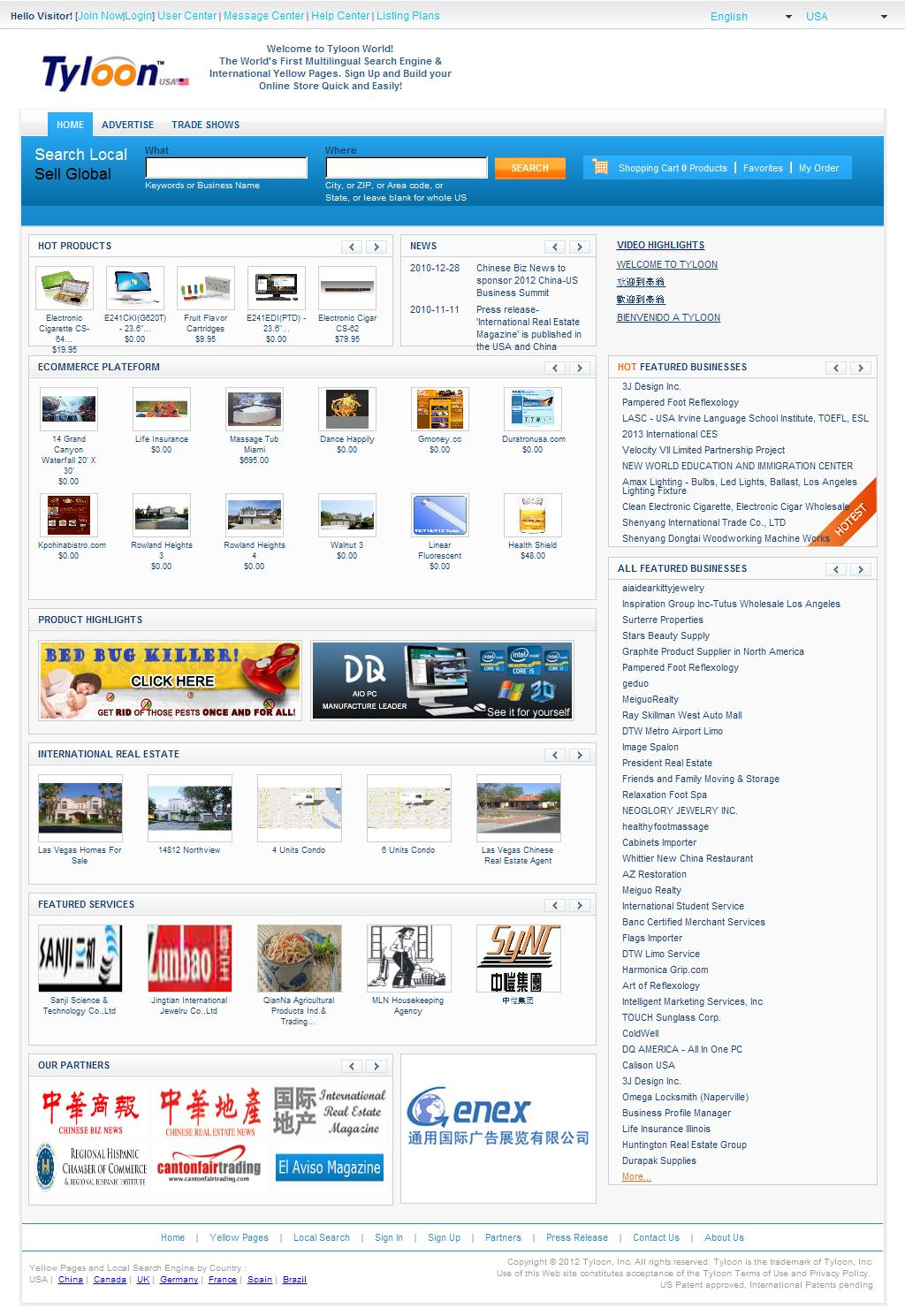 International yellow pages, multilingual local search engine, world business directory & unified e-commerce platform - Tyloon.com