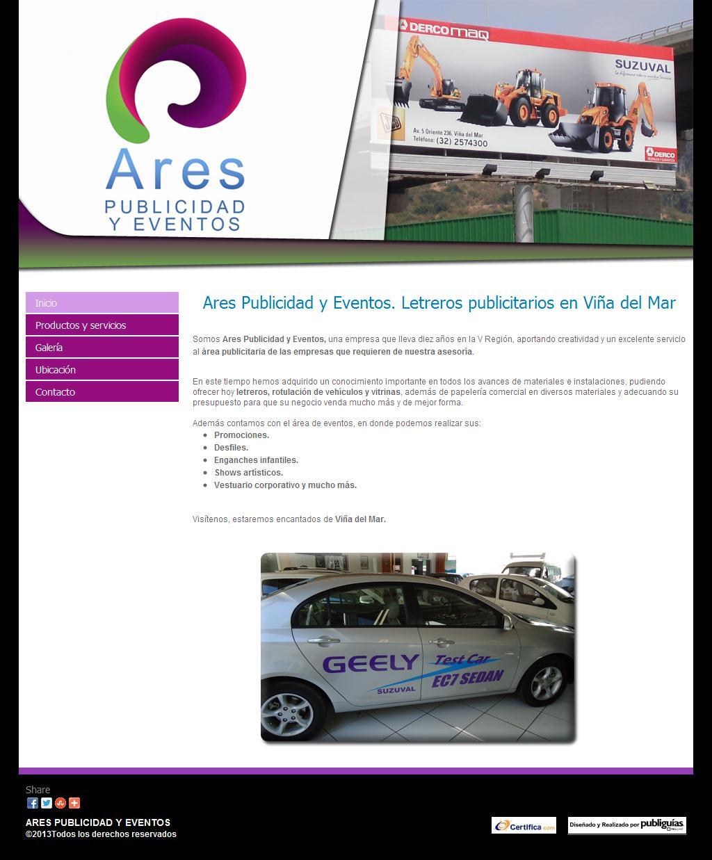 Ares Publicidad y Eventos. Letreros publicitarios en Viña del Mar